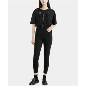 LEVI'S black zip skinny denim overalls